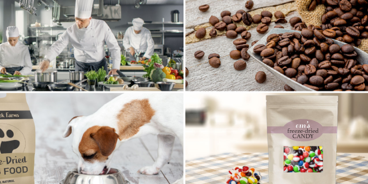 chefs in a kitchen, coffee beans, a dog eating freeze dried dog food, a bag of freeze dried candy