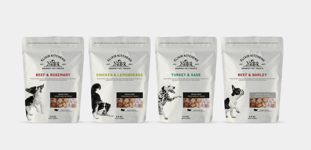 Bags of freeze dried pet food