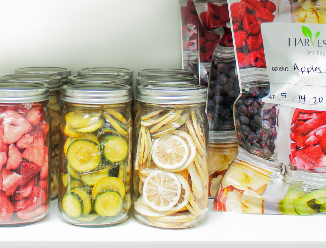 jars and mylar bags of freeze dried food