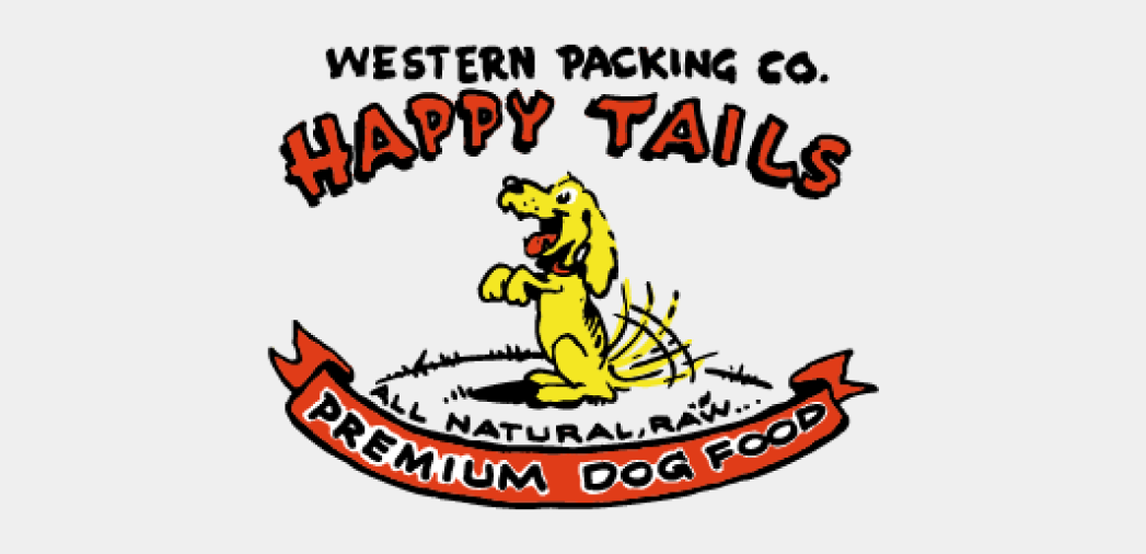 logo for Western Packing Co. Happy Tails All Natural, Raw, Premium Dog Food. A yellow dog with a wagging tail