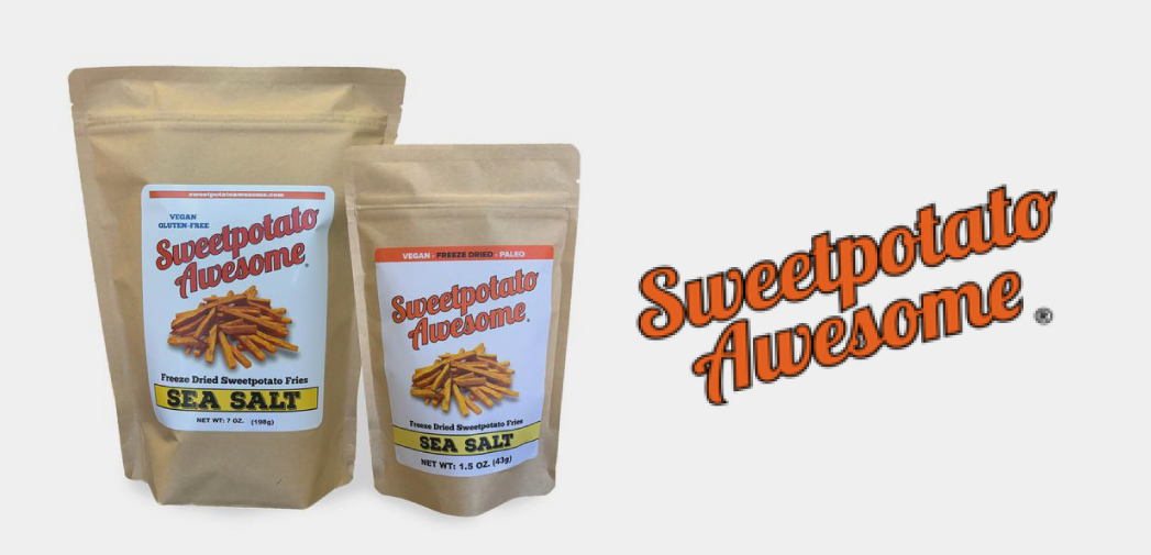 bags of freeze dried sweet potatoes and the logo for Sweet Potato Awesome