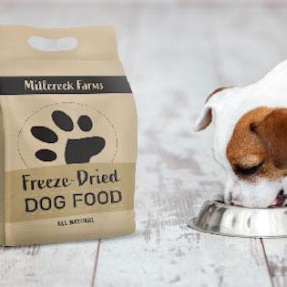 A dog eating freeze dried dog food