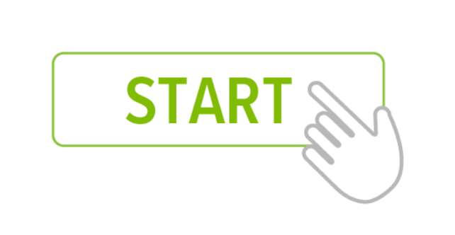 icon of a start button with a finger pointing to it