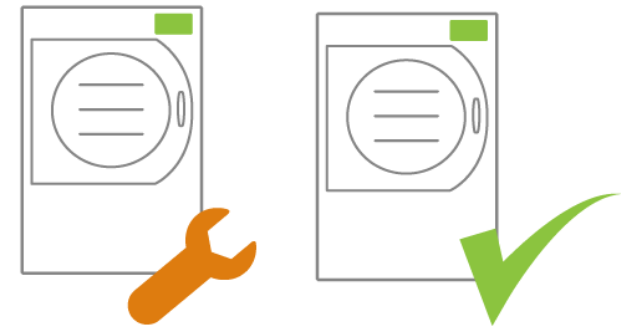 Icon of two freeze dryers. One with a wrench next to it and one with a check mark next to it