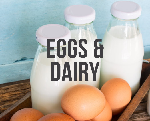 Eggs & Dairy. Three bottles of milk, 5 eggs